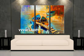 piece boat ocean oil paintings yellow artwork