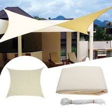 3 5x3 5m square sun shade sail canopy patio garden awning uv block top shelter beige