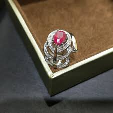 Ruby Stone Gold Ring Design Us 71 39 Flzb 100 Natural African Ruby Gemstone Ring In 925 Sterling Silver With White Gold Unique Design Ring Gift For Women In Rings From
