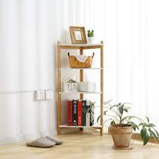 Japanese Bookcase Design Amazon Com Miklan Japanese Style Bamboo Corner Shelf 4