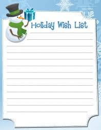 Printable Christmas Gift List Template Printable Holiday Wish Lists Christmas Wish List Template