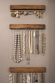 DIY Jewelry wood and brass hanging necklace display rack and por fairlywell  Walnut brown