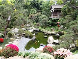 Lawn & Garden:Great Backyard Japanese Garden With Large Koi Pond Ideas Nice  Pleasant Japanese
