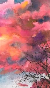 red clouds with twig tree painting by anne gifford