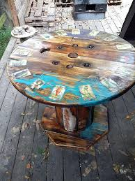 wooden spool table best spools painted decorated images on cable reel table woodworking and rustic furniture