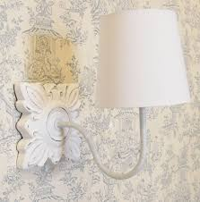 french country shabby chic style ivory martine wall light white cotton shade co uk lighting