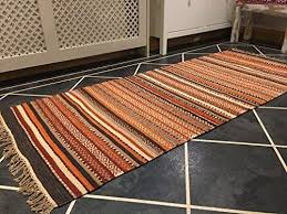 shillong red orange brown stripe indian wool kilim rug