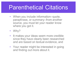 Parenthetical Citations Giving Credit Usingmla Format Ppt Download