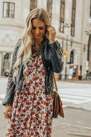 fall autumn outfit fl maxi dress leather jacket chloe boots chloe bag 5
