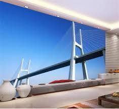 3d Behang Aangepaste Foto Muurschildering Non Woven Cross Zee Brug