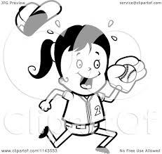 Cartoon Clipart Of A Black And White Softball Baseball Girl ...