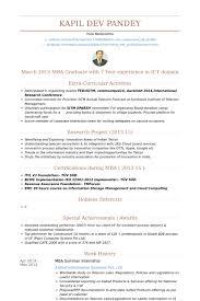 Mba Summer Internship Resume samples