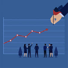 How To Make A Goal Chart Business Hand Set A Goal Profit And Chart Going To It