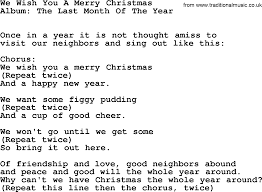 Kingston Trio song: We Wish You A Merry Christmas, lyrics