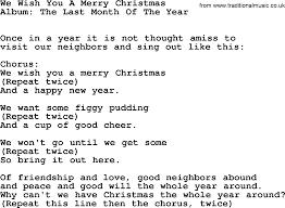 Kingston Trio song: We Wish You A Merry Christmas, lyrics