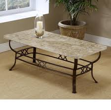 Exclusive Brookstone Patterned Fossil Stone Coffee Table With Metal Base