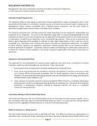 wellgreen platinum q md a interim financial statements