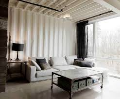 corrugated metal ceiling basement living room industrial with wood neutral color scheme light gray sofa painted corrugated i58 painted