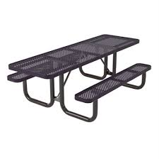 picture of ada dual access rectangular 8 ft thermoplastic perforated steel picnic table quick