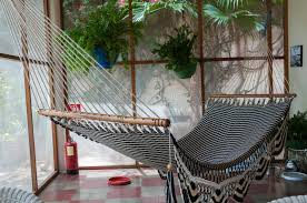 Download Big Huge Hammock In Black And White Hanging Inside Stock Photo -  Image of america
