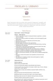 Optometrist Branch Manager Resume samples