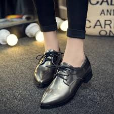 grey women s oxfords lace up pointy toe patent leather vintage shoes image