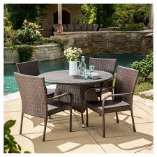 Outdoor wicker dining sets Outdoor Furniture Grant 5pc Wicker Patio Dining Set Brown Christopher Knight Home Target Target Grant 5pc Wicker Patio Dining Set Brown Christopher Knight Home