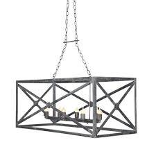 black rectangle chandelier iron