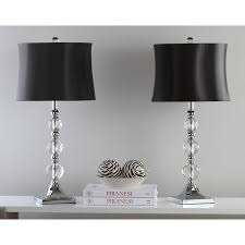 safavieh lighting 28 inch maeve black shade crystal ball table lamp set of 2