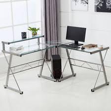 home office glass desks. L-Shape Corner Computer Desk PC Glass Laptop Table Workstation Home Office Clear Desks I