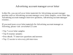 Sample Advertising Account Executive Cover Letter Advertising Account Manager Cover Letter