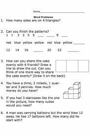 Kindergarten Printable Second Grade Math Word Problem Worksheets ...