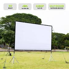 excelvan 221cm x 125cm 100 inch 16 9 collapsible white portable projector cloth screen with hanging hole for home and outdoor use