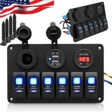 marine rocker switch boat parts 6 gang rocker led switch panel breaker car marine boat circuit 2 usb waterproof~