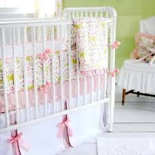 pink and green crib bedding lime