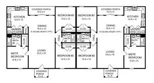 Duplex With Center Car Garage For Privacy  21574DR Floor Plans For Duplexes
