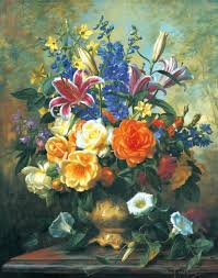 still life of flower bouquets on pot oil painting by albert williams b