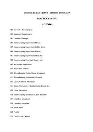 Job Descriptions Room Division Housekeeping Agenda