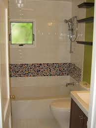 Beige Granite Shower Wall Panel Combined With Glass Mosaic Subway - Mosaic bathrooms
