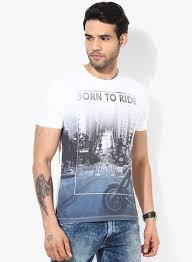 Buy Wrangler White Printed Round Neck T Shirt For Men Online