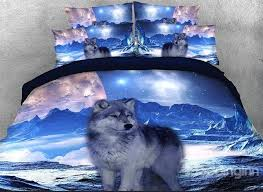 61 onlwe 3d mountain wolf printed cotton 4 piece bedding sets duvet covers