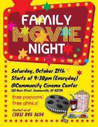 Free Movie Night Flyer Templates Family Movie Night Flyer Template Postermywall