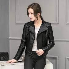 fashion design faux leather jacket women 2016 black short las leather jacket coat female biker jacket