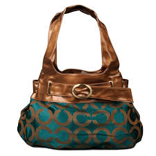 Coach Buckle In Signature Large Green Hobo ENE Clearance Sale Outlet