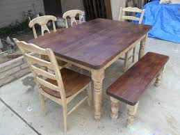making dining room table. Wooden Top Part For Reclaimed Wood Dining Room Tables And Three Type Chair On Usual Floor Put In Outside Because Still Making Build Process Table