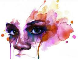 watercolor painting ideas of abstract girl face