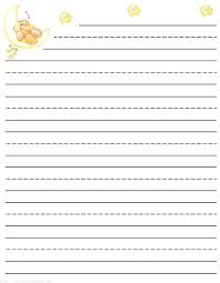 Kindergarten Lined Paper Template Teddy Bear Free Printable Stationery For Kids Primary Lined Theme