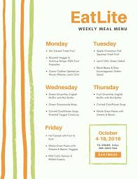 Green Orange Stripes Weekly Meal Planner Menu - Templates By Canva