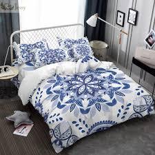 luxury chinese ethnic style bedding set duvet cover set blue white porcelain bed linens pillowcases 45 45cm cushion cover white comforter set queen egyptian
