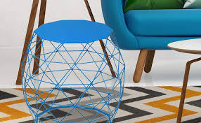 joveco triangle pattern wire round iron metal end table side table sofa table coffee table blue